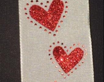 "1.5"" Wire-edged Heart Ribbon 1 Yard"