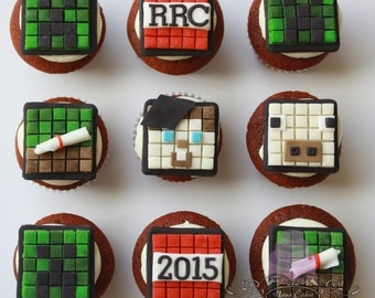 MineCraft Cupcake Topper/ Minecraft cake topper / Gamer cupcake topper / Square Pixel Video Game / Gamer Theme /MineCraft Party / Birthday