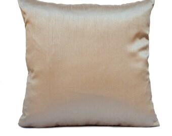 Solid Light Gold Pillow, Throw Pillow Cover, Decorative Pillow Cover, Cushion Cover, Pillowcase, Accent Pillow, Silk Blend Pillow,