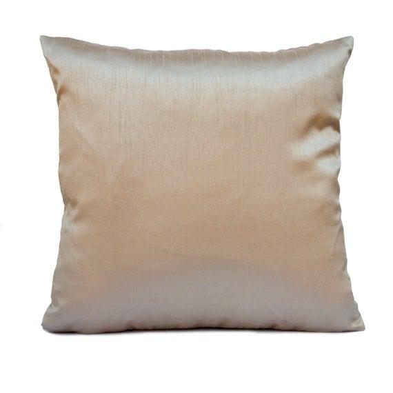 solid light beige sand silk blend decorative throw