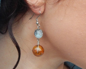 handcrafted, wire wrapped beaded earrings