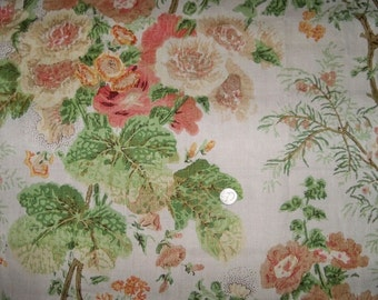 LEE JOFA KRAVET Hollyhock Block Printed Linen Fabric 10 Yards Coral Apple Cream
