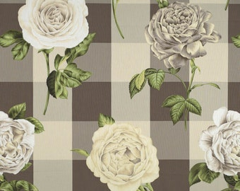 SCALAMANDRE ENGLISH COUNTRY Shabby Cabbage Roses on Checks Fabric 10 Yards Oyster Cream Brown
