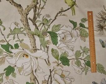 LEE JOFA Kravet Birds Trees Peony Linen Fabric 10 Yards Cream Green Sand Multi