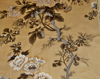 SCHUMACHER Hollyhock Floral Cotton Toile Fabric 10 yards Amber Brown Grey Gold