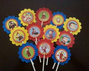 12 Curious George Cupcake Toppers