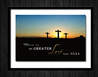 Christian Canvas Art . Inspirational Decor Gift . There is no greater love than this