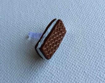 Polymer Clay Chocolate Waffle Phone Dust Plug