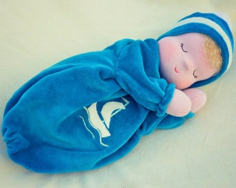 Waldorf doll for sleeping with lovely marine jacket 25cm tall.