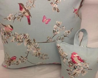 Cushion and Doorstop set in bird fabric