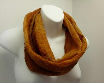 Hand Felted Nuno Merino Wool and Silk Circle Scarf in Rust