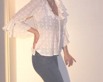 Vintage Stephanel white romantic shirt, cotton sheer ruffle blouse
