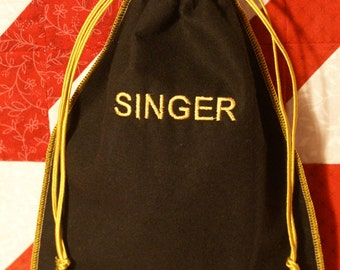Singer sewing machine foot pedal or accessory  draw string bag/VINTAGE INSPIRED