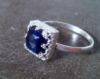 SALE! Vintage ring,Sterling silver ring, sapphire ring,energy ring,navy blue ring,square ring,customize rings
