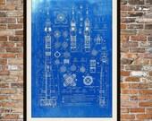 Russische Sojus-Rakete Blueprint Kunst des russischen Sojus-Rakete technische Zeichnungen, technische Zeichnungen Patent blau Drucken Kunst Elements 0103