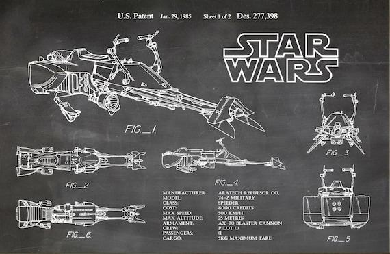 Star Wars Speeder Bike Blueprint Art Speeder Bike By