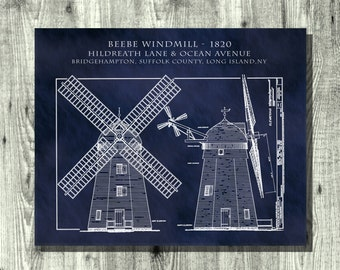 1820 Beebe Windmill Architectural Art Print - Poster -  Drawing Illustration - Architecture Blueprint - Suffolk County - Long Island