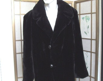 Brand new onyx black sheared beaver fur jacket half coat  for men man size all custom made