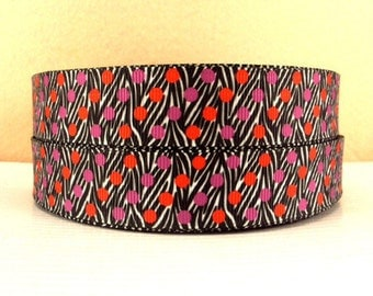 7/8 inch Red and Purple Polka Dots on Zebra  -  Valentine's day Love Printed Grosgrain Ribbon for Hair Bow
