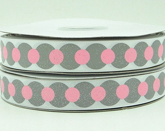 7/8 inch Gray And Pink Glitter Dots - Breast Cancer Awareness - Printed Grosgrain Ribbon for Hair Bow