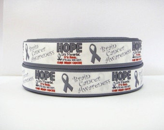7/8 inch Hope - Brain Cancer Awareness - Printed Grosgrain Ribbon for Hair Bow