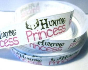7/8 inch Hunting Princess on White - Printed Grosgrain Ribbon for Hair Bow