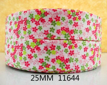 1 inch - Itty Bitty Flowers - Pin, Hot Pink, Lime Printed Grosgrain Ribbon for Hair Bow