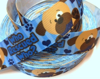 1 inch Who Rescued Who? Blue - ADOPT ME - Puppy - Dog - Animal Printed Grosgrain Ribbon for Hair Bow