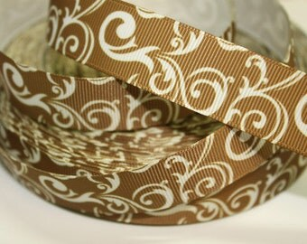 7/8 inch - White Damask on Brown - FILIGREE DB300 - Printed Grosgrain Ribbon for Hair Bow