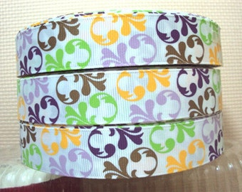 7/8 inch Lime Green, Brown, Purple, Yellow Filigree on White - Swirl Vines Printed Grosgrain Ribbon for Hair Bow