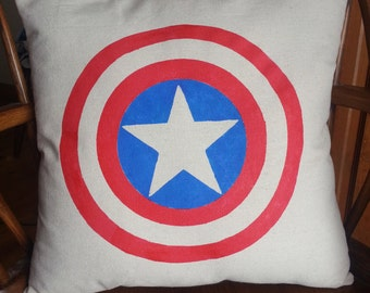 Captain America Shield Square Pillow in durable Cotton Canvas fabric. Great kids' birthday gift! Avengers!