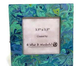 """Hand Painted Blue Marble Picture Frame - Opening 3.5"""" x 3.5"""""""
