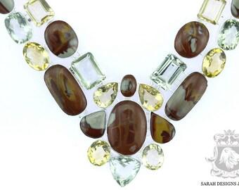 Large Size! Australian Mook Mookaite Jasper PRASIOLITE Green Amethyst 925 SOLID Sterling Silver Necklace