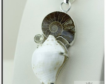 Made in Italy! Madagascar Ammonite Fossil Conch Shell 925 SOLID Sterling Silver Pendant + 4mm Snake Chain & FREE Worldwide Shipping P1891