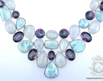 Pure Quality MOONSTONE MYSTIC TOPAZ 925 Solid Sterling Silver Necklace n301