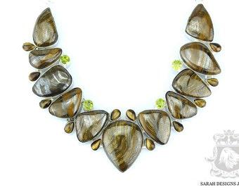 Excellent Striking Pattern Opulent Glow AAA Graded AUSTRALIAN TIGER Eye 925 Solid Sterling Silver Necklace n359