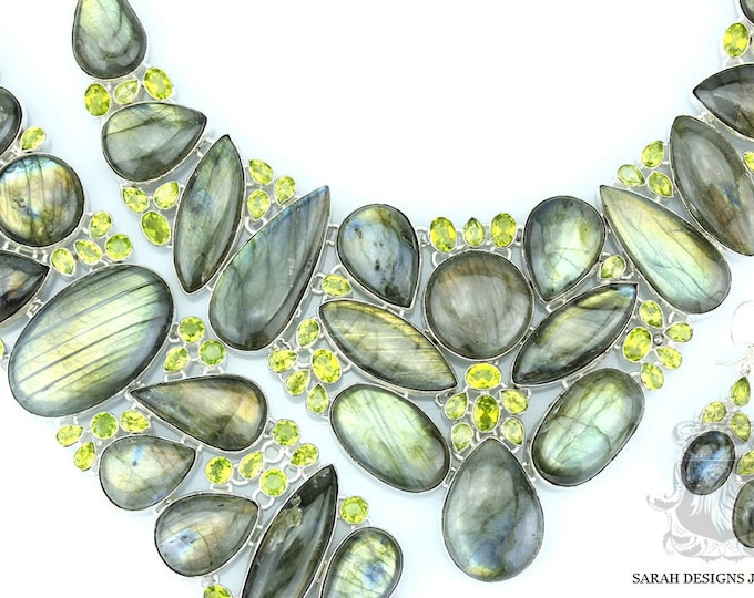 CANADIAN LABRADORITE PERIDOT 925 Solid Sterling Silver Necklace Set 138