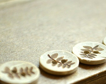 8 pcs Leaf Pattern Small Wooden Buttons 12mmx12mm(54-2)
