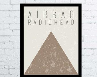 Radiohead Airbag OK Computer printable wall art decor poster, Airbag Radiohead poster digital typography poster musical ok computer