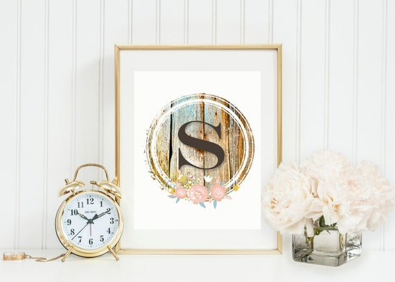 Rustic Monogram Wall Decor : Rustic wood stamp monogram wall art nursery or home initial