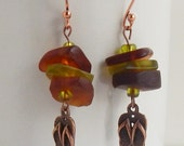 Sea Glass Earrings, Flip Flop Earrings, Green & Brown Recycled Glass