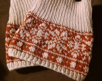 Snowflake Hand Knitted Boot Toppers