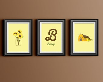 Custom Home Decor- Shabby Farm Theme with Sunflowers and Barn Personalized Initial and Name Baby Girl Room Wall Art