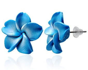 15mm Handmade Hawaiian Fimo Polymer Clay Blue White Flower Post Stud Earrings (F16)