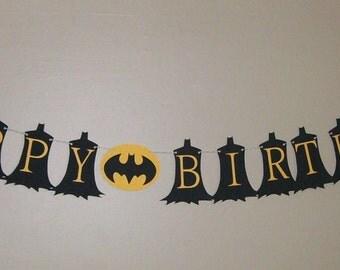 Batman Birthday Banner Super Hero Banner Black and Yellow (543B)