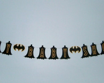 Batman Baby Shower Banner Super Hero Banner Black and Yellow (584B)