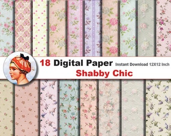 18x Shabby Chic digital paper - Digital paper patterns - Scrapbooking Paper, Instant Download (No. 17)