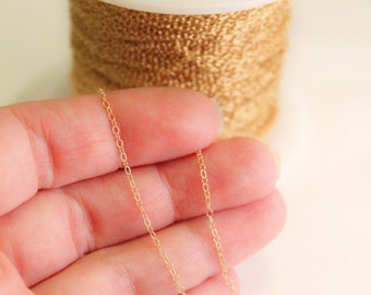 50 Feet - 14k Gold Filled Chain - 1.3mm Round Cable Chain - Thin Chain - Delicate Gold Chain - Wholesale - Custom Length / GF-CH001