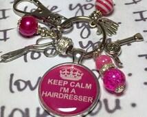 Hairdresser keyring keychain bag charm, hairdresser gift