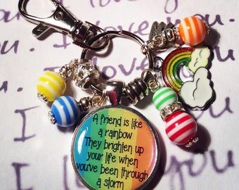 """Rainbow friend keyring, rainbow friend keychain, """"A friend is like a rainbow.  They brighten up your life when you've been through a storm"""""""